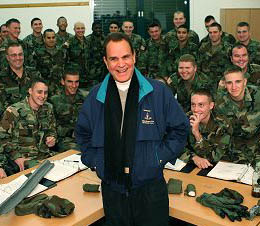 Rich Little with troops during USO tour in 2005.