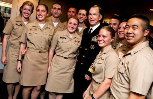 Navy Adm. Mike Mullen, chairman of the Joint Chiefs of Staff, stands with Navy Reserve Officer Training Corps students at Harvard University in Cambridge, Mass., Nov. 17, 2010. Mullen addressed the students at the John F. Kennedy School of Government. U.S. Navy photo by by Petty Officer 1st Class Chad J. McNeeley