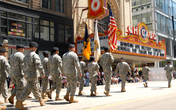Soldiers of the Illinois Army National Guard march in the 2010 Chicago Memorial Day parade on May 29, 2010.