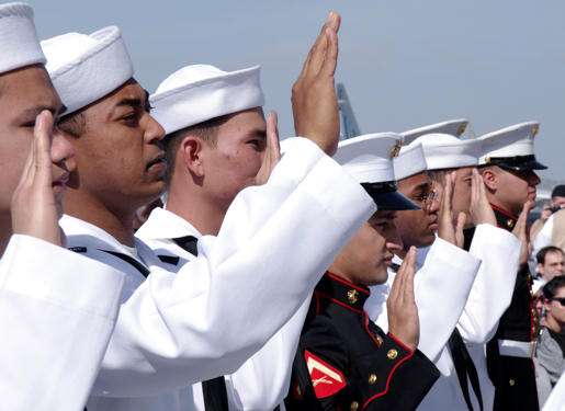 SAN DIEGO (May 13, 2010) - U.S. service members take the oath of allegiance aboard the USS Midway Museum to become naturalized American citizens.