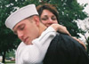 Seaman Shaun W. Reagan (18), saying goodbye to his mother, Maria Brodeur, at Great Lakes Naval Base (Chicago, IL) one day after his graduation