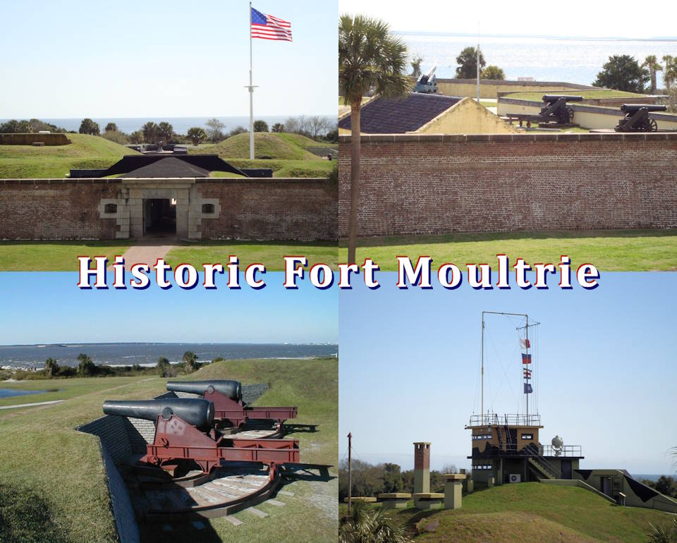 Fort Moultrie represents the entire history of static seacoast defense in the United States. This fort, the third named Moultrie, shows visitors how fortifications and artillery changed from 1809-1947. Exhibits take the story back to 1776 and the Revolutionary War. (Image created by USA Patriotism! from U.S. National Park Service photos.)