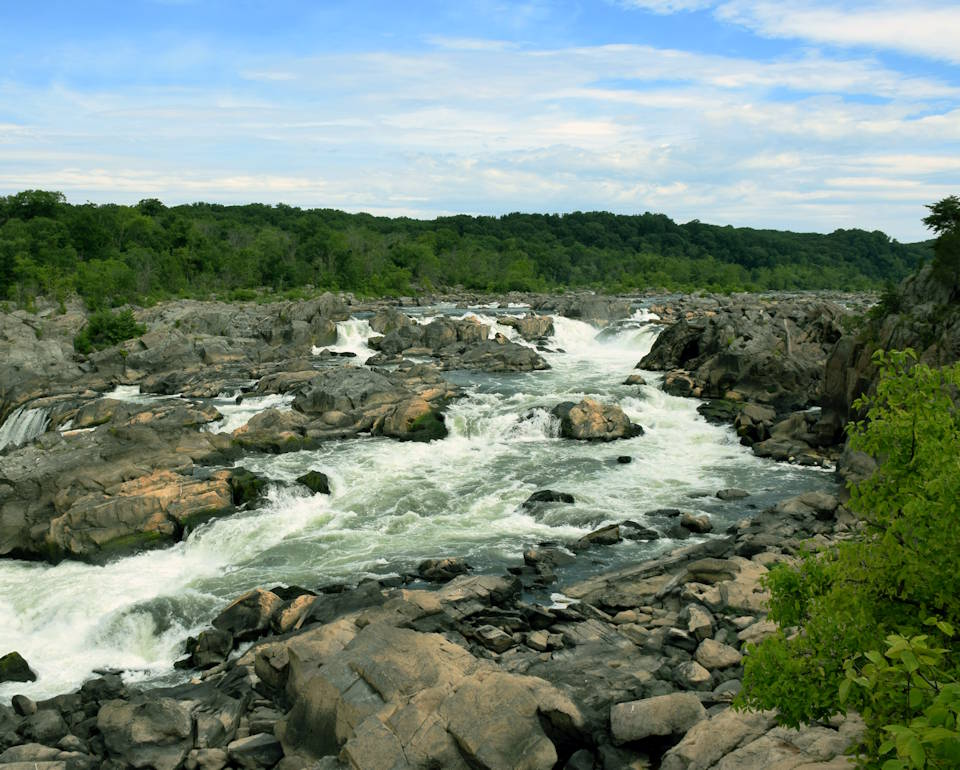 The picturesque view of Great Falls in the Potomac River Gorge along the Potomac Heritage National Scenic Trail is minutes from Washington, DC. Just imagine President George Washington, other Founding Fathers, and fellow Americans looking at the scene above during the birth of our beloved USA. (Image created by USA Patriotism! from U.S. National Park Service photo by Monica Larcom.)